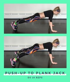 Wrap the band around your ankles then move into a high plank position. Bend your elbows and lower your torso to the floor to do one push-up. Push your through palms to straighten your arms and return to a high plank position. Now jump your legs out to the sides and back in again while keeping your hips stable and facing the ground. That's 1 rep, do 10.