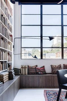 Trendy Home Library Ideas Office Natural Light Ideas My Living Room, Home And Living, Interior Architecture, Interior And Exterior, Nordic Interior, Home Office Design, House Design, Interior Design Awards, Modern Windows