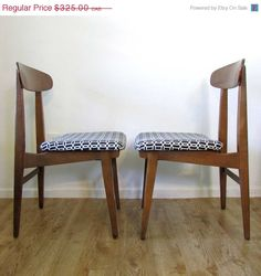 SALE Chairs - Mid-Century Modern Chair Pair Occasional Chairs Accent Chairs - Vintage Wood with Black and White Geometric Interlock on Etsy, $287.47