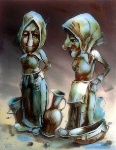 Piaci kofák, 65x50cm, olaj/polimetakrilát Princess Zelda, Marvel, Statue, Fictional Characters, Art, Art Background, Kunst, Performing Arts, Fantasy Characters