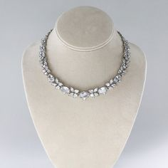 Stunning CZ bridal necklace with large ovals and teardrop clusters.  Affordable and beautiful bridal and wedding accessories and jewelry.  Bring on the bling at Adorn!