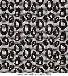 Seamless knitted pattern skin wild animals