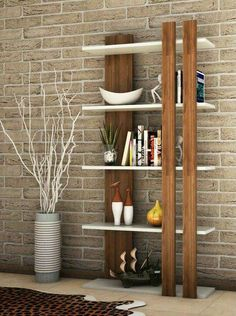 biblioteca moderna Bar Shelves, Shelving Units, Corner Shelves, Shelving Ideas, Floating Shelves, Wall Shelving, Wooden Shelves, Modern Bookshelf, Bookshelf Design