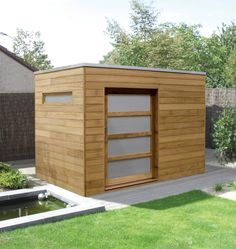 Contemporary garden shed in Iroko wood