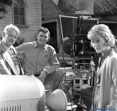 Denver Pyle, Andy Griffith and Maggie Peterson on the backlot during filming - February 1963 Good Old Movies, The Backlot, Vintage Television, Television Set, Tv Icon, The Andy Griffith Show, Childhood Tv Shows, Good Old Times, Old Shows