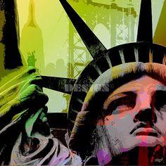 """Statue of Liberty"" 40x40 cm - Toile design pop'art"