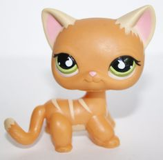 Littlest Pet Shop #525 Orange Striped Short Hair Cat Green Eyes Kitten LPS #Hasbro