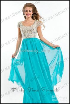 Wholesale Prom Dresses - Buy 2014 Cheap Modest Prom Dresses Sparkly Crystals Beaded Hunter Chiffon A-Line Floor Length Short Sleeves Scoop Homecoming Dance Dresses Cheap, $129.99   DHgate