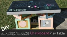 DIY kid's table - Woodworking project - Alphabet Blocks Inspired Play Table. Includes Cricut craft printouts/stickers- ToolBox Divas