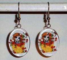Ohrringe Blüten oval Edelstahl Ohrhänger Damen Ohrschmuck Modeschmuck handgefertigt Glas Neuware