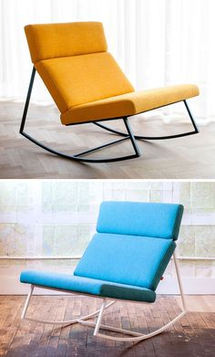 Furniture Ideas - 14 Awesome Modern Rocking Chair Designs For Your Home | These rocking chairs come in fun colors to create more modern look to fit into any contemporary home.