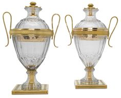 c1800 A PAIR OF GEORGE III ORMOLU-MOUNTED CUT-GLASS VASES AND COVERS WITH SILVER-GILT LINERS, ONE OF THE LINERS WILLIAM RUDKINS, LONDON, 1800, THE OTHER UMARKED, CIRCA 1800 Estimate  8,000 — 12,000  GBP  LOT SOLD. 13,750 GBP (Hammer Price with Buyer's Premium)