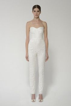 08f91083742 Womens White Lace Jumpsuit - Strapless White Wedding Suit
