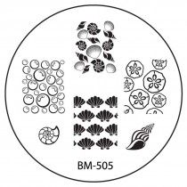 Nail Art Stamping Image Plate - Sun Kissed Collection, BM-505: Shells + Bubbles