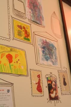 Draw frames on ur wall to display kids art and other tidbits! Don't worry u can always paint wall again! Diy House Projects, Art Projects, Kids Art Storage, Drawing Frames, Bathroom Kids, Family Memories, Kid Spaces, Boy Room, Kids Rooms