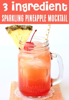 Mocktail Recipe - Easy Non Alcoholic for Parties Drink!  Dreaming of Hawaii?  Well, this EASY Sparkling Pineapple Mocktail Recipe is just what your day needs!  Go on and kick back, relax, and get ready for tropical bliss with each sweet and fizzy sip!  Go grab the recipe and give it a try this week! Easy Mocktails, Easy Mocktail Recipes, Mocktail Drinks, Drinks Alcohol Recipes, Punch Recipes, Non Alcoholic Drinks, Drink Recipes, Cocktails, Summer Drinks