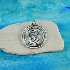 FRIENDSHIP Large Silver Iris Pendant Inspirational Jewelry Custom Engraving