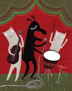 Cat and Dog Art Print - Animals Playing in a Band - Red Folk Animal Art, Drum, Guitar, Singer - Musicians    The Jam Band    Yeah man, these guys really