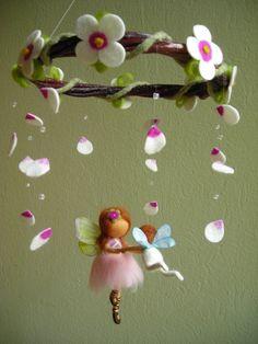 "Mobile ""A ballet scene with two fairies"" - felted, waldorf inspired Felt Fairy, Baby Fairy, Fairy Crafts, Felt Crafts, Mobiles, Fairy Doors, Soft Sculpture, Felt Flowers, Wool Felt"