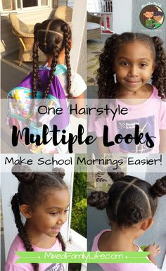 One Hairstyle Multiple Looks - 4 Hair Sections – Mixed Family Life Mixed Race Hairstyles, Kids Curly Hairstyles, Baby Girl Hairstyles, Curly Hair Tips, Curly Hair Care, Curly Hair Styles, 1920s Hairstyles, School Hairstyles, Little Mixed Girl Hairstyles