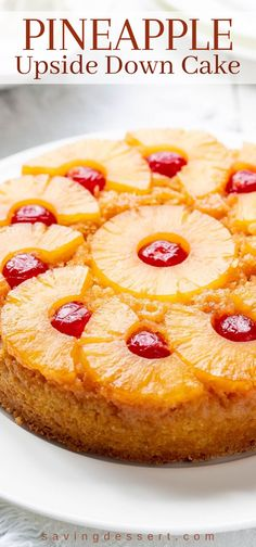 An easy American classic made with canned pineapple and a moist yellow cake Pineapple Upside-Down Cake Recipe with plenty of pineapple flavor in both the topping and batter. It's easy to see why this cake is an American classic! Dessert Simple, Pineapple Upsidedown Cake Recipe, Pineapple Upside Down Cupcakes, Homemade Pineapple Upside Down Cake Recipe, Pineapple Upside Down Cake From Scratch, Spaghetti Eis Dessert, Pineapple Recipes, Canned Pineapple, Pineapple Ideas