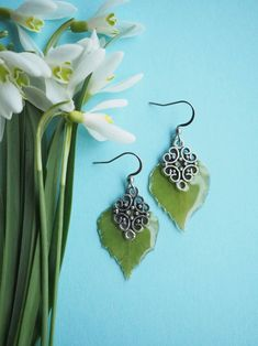 Mint Flower Earrings Mint Button Earrings Green Earrings Nickel Free Earrings |Cottage Core Resin Earrings Flower Earrings