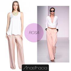 Várias cores vão sair das passarelas internacionais para a loja mais perto de você. Mas nenhuma delas foi tão forte quanto o rosa. #Moda #Look #Rosa #Tendência  Olha que lindo esse look Anasthacia! http://www.anasthacia.com.br/calca-classica