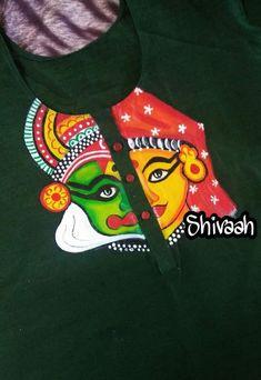 Crochet ideas that you'll love Saree Painting, Kalamkari Painting, Kerala Mural Painting, Dress Painting, T Shirt Painting, Fabric Painting, Fabric Art, Indian Artwork, Indian Folk Art