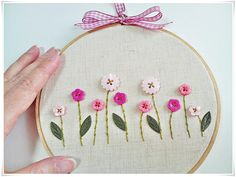 Hand Embroidery in hoop (Embroidery wall art) Pink Blue Button Flower Garden Clearance Sale Hand Embroidery in hoop by KawaiiSakuraHandmade Embroidery Hoop Crafts, Hand Embroidery Videos, Creative Embroidery, Hand Embroidery Stitches, Hand Embroidery Designs, Floral Embroidery, Cross Stitch Embroidery, Embroidery Ideas, Hand Stitching