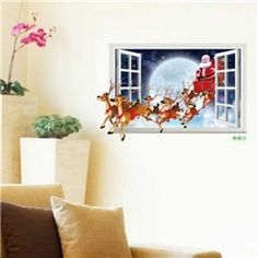 Creative Santa Claus and Santa Ride Pattern Christmas Decoration 3D Wall Stickers