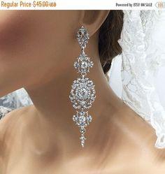 Bridal earrings, Bridal jewelry, Wedding jewelry, Wedding earrings, Cubic zircon crystal earrings, Prom earrings,Vintage inspired earrings