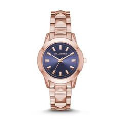LaBelle Stud Rose Gold-Tone Three-Hand Watch The rose gold-tone KARL LAGERFELD LaBelle Stud features a navy sunray dial with a stud-accented three-link bracelet for the ultimate everyday watch.