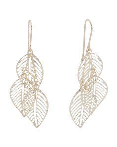 Made In Italy 14k Gold Triple Leaf Earrings