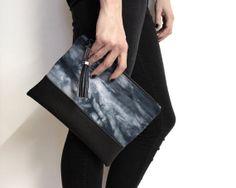 hand dyed #clutch, #shibori clutch, tie die #purse with #tassel