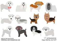 Dogs and Friends clip art part 8 for Personal and Commercial use - INSTANT DOWNLOAD