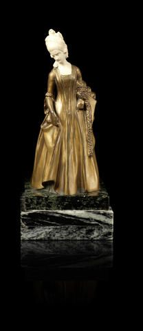 Emil Meier (Czechoslovakian, born 1877) A Bronze and Ivory Figure of a Lady, early 20th century