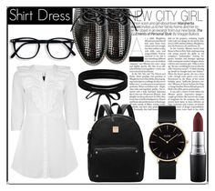 """""""SHIRT DRESS"""" by daniellejosephinevogue ❤ liked on Polyvore featuring Topshop, MAC Cosmetics, Boohoo and CLUSE"""