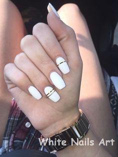 Matte white nails, white coffin nails, white nail art, white acrylic nails with French Tip Nail Designs, White Nail Designs, French Tip Nails, Acrylic Nail Designs, Perfect Nails, Gorgeous Nails, Pretty Nails, White Nails With Gold, White Nail Art