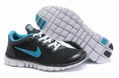 Nike Free 3.0 V2 Oami Chaussures Femmes noir / bleu Vente