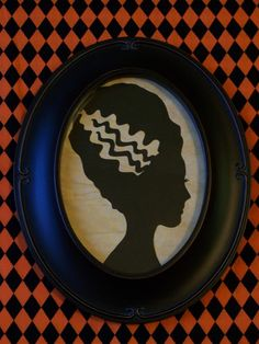 Bride of Frankenstein Primitive Framed Halloween by RedHedPrims, $16.00