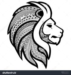 Zentangle Stylized  Tattoo Profile Lion Head. Ethnic Patterned Ornate Decorative Lion' Mane. African, Totem, Tattoo Design, Poster, Print Or T-Shirt. Ilustración vectorial en stock 514024105 : Shutterstock