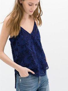 NWOT ZARA Lace Blue V-Neck Cami Top, Gorgeous! Sz Small #ZARA #TrendyFashion #Lace