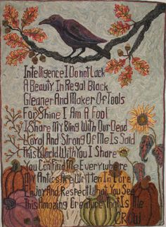 Crow designed and hooked by KAYE MILLER Wow, what a skilled craftswoman! Blackbird Singing, Raven Art, Jackdaw, Hand Hooked Rugs, Crows Ravens, All Birds, Animal Totems, My Spirit Animal, Spirit Guides