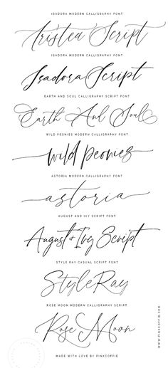 A selection of wedding and modern calligraphy script fonts + trendy hand-lettered script fonts created with love by PinkCoffie  www.pinkcoffie.com Calligraphy Tattoo Fonts, Tattoo Fonts Cursive, Hand Lettering Alphabet, Script Tattoo Fonts, Hand Script Font, Simple Tattoo Fonts, Tattoo Typography, Best Tattoo Fonts, Calligraphy Types