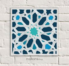 Blue STAR MOSAIC Art Canvas Art Wall Decor Bedroom by mokami #canvas #startup #print #love #onlineshopping #etsy #gifts #present #business #shipping #cotton #readytohang #hang #decor #home #livingroom #bedroom #art