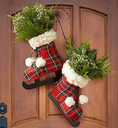 Looking for a unique Christmas wreath? These holiday skates filled with evergreen bunches are perfect to welcome guests for the season... and they're only $39.99!