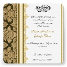 Gold Damask B#muslimwedding #muslimweddinginvitationrocade Muslim wedding Invitations