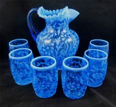 FENTON BLUE OPALESCENT GLASS DAISY AND FERN WATER SET Pitcher & 6 Glasses