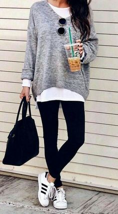 oversized gray sweater + black yoga leggings + black and white adidas shoes l sporty casual leggings outfits #starbucks #sporty #streetstyle