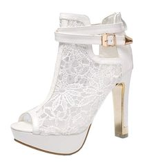 0ea1f80280b getmorebeauty Women s White Pretty Lace Flowers Open Toes High Heels Ankle  Boots 9.5 B(M